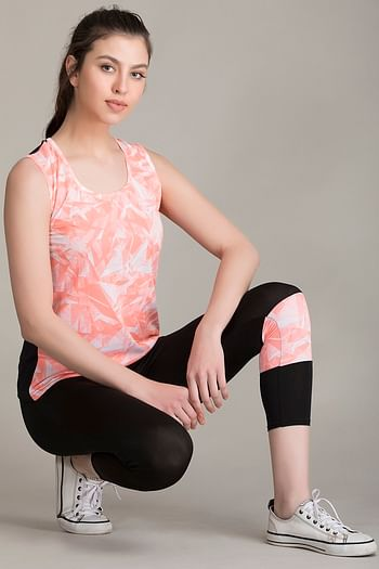 Front listing image for Gym/Sports Activewear Printed Top & Tights in Orange & Black