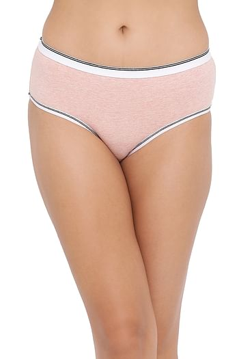 Front listing image for High Waist Hipster Panty in Peach - Cotton