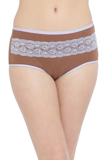 Front listing image for High Waist Hipster Panty with Lace Insert in Brown- Cotton