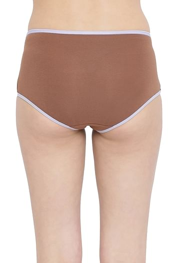 Back listing image for High Waist Hipster Panty with Lace Insert in Brown- Cotton
