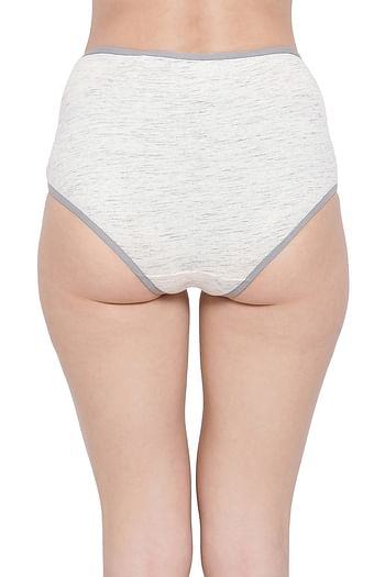 Back listing image for High Waist Hipster Panty with Lace Insert in Light Grey - Cotton