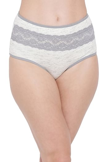 Front listing image for High Waist Hipster Panty with Lace Insert in Light Grey - Cotton