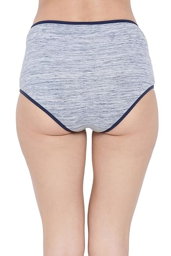 Back listing image for High Waist Hipster Panty with Lace Insert in Navy Blue - Cotton