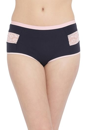 Front listing image for High Waist Hipster Panty with Lace Inserts in Black - Cotton