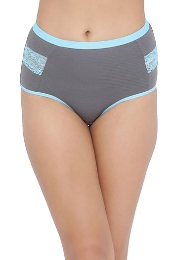 Front listing image for High Waist Hipster Panty with Lace Inserts in Light Blue - Cotton