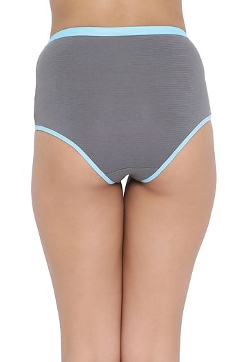 Back listing image for High Waist Hipster Panty with Lace Inserts in Light Blue - Cotton