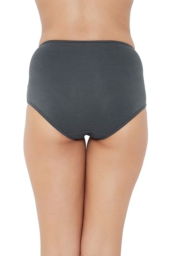 Back listing image for High Waist Hipster Panty with Lace Waist in Dark Grey - Cotton