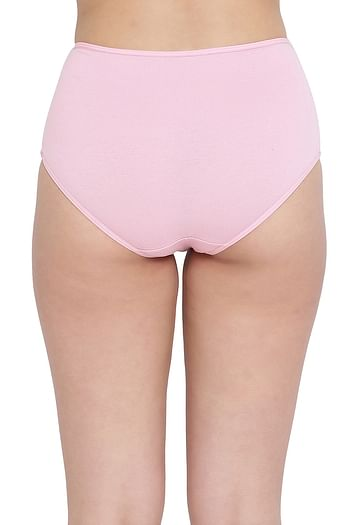 Back listing image for High Waist Hipster Panty with Lace Waist in Duster Pink - Cotton