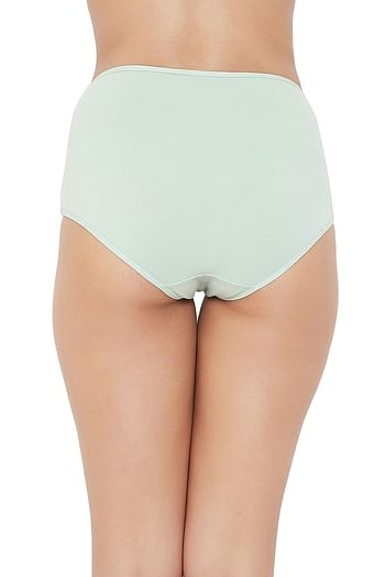 Back listing image for High Waist Hipster Panty with Lace Waist in Light Green - Cotton