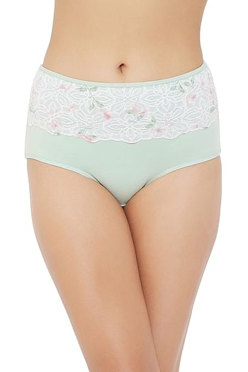 Front listing image for High Waist Hipster Panty with Lace Waist in Light Green - Cotton