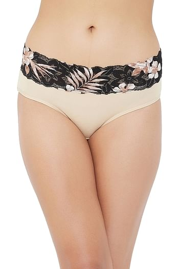 Front listing image for High Waist Hipster Panty with Printed Lace Waist in Skin Colour - Cotton