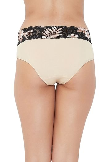 Back listing image for High Waist Hipster Panty with Printed Lace Waist in Skin Colour - Cotton