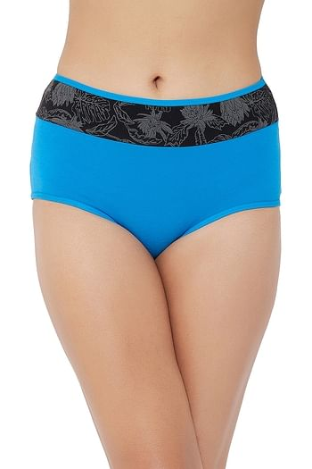 Front listing image for High Waist Hipster Panty with Printed Waist in Blue - Cotton