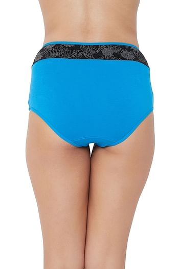 Back listing image for High Waist Hipster Panty with Printed Waist in Blue - Cotton