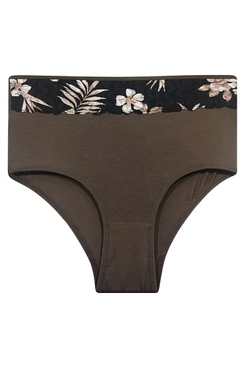 Front listing image for High Waist Hipster Panty with Printed Waist in Dark Brown - Cotton