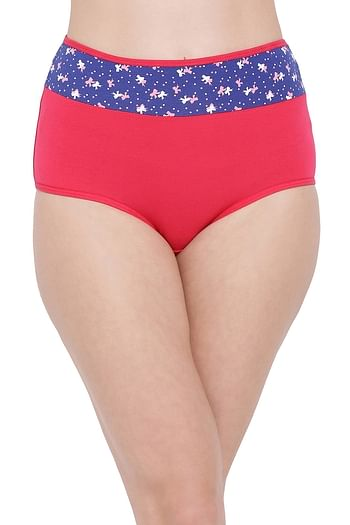 Front listing image for High Waist Hipster Panty with Printed Waist in Dark Pink - Cotton