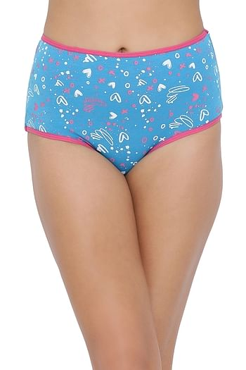 Front listing image for High Waist Printed Hipster Panty in Blue - Cotton