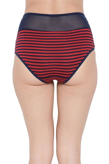 Back listing image for High Waist Striped Hipster Panty with Sheer Waist in Red - Cotton