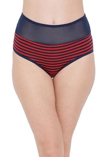 Front listing image for High Waist Striped Hipster Panty with Sheer Waist in Red - Cotton