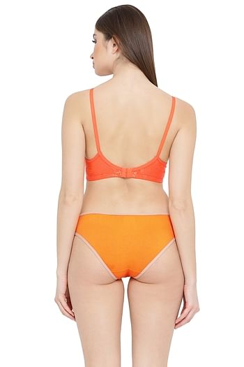 Back listing image for Lace Non-Padded Non-Wired Bra & Bikini Panty Set in Orange