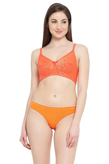 Front listing image for Lace Non-Padded Non-Wired Bra & Bikini Panty Set in Orange