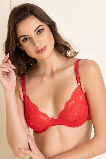 Front listing image for Lace Non-Padded Underwired Demi Cup Bridal Bra In Red