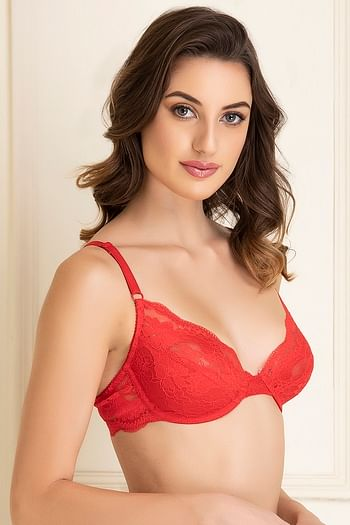 Back listing image for Lace Non-Padded Underwired Demi Cup Bridal Bra In Red