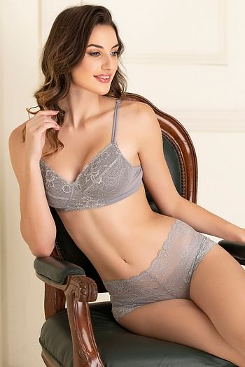 Front listing image for Lace Padded Non-Wired Bra with Bikini Panty in Grey