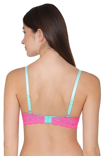 Back listing image for Padded Underwired Level 1 Push Up Bra with Lace In Aqua Blue