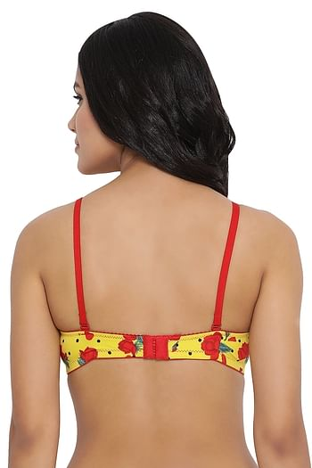 Back listing image for Lightly Padded Non-Wired Floral Print T-Shirt Bra in Yellow
