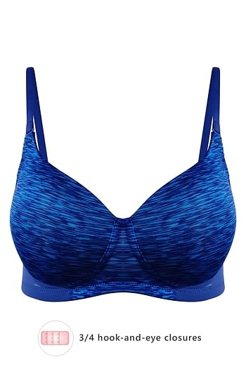 Front listing image for Lightly Padded Non-Wired Printed Multiway T-Shirt Bra in Navy Blue