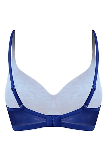 Back listing image for Lightly Padded Non-Wired Printed Multiway T-Shirt Bra in Navy Blue