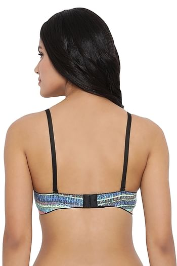 Back listing image for Lightly Padded Printed Non-Wired T-Shirt Bra in Multicolour