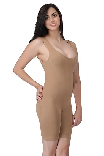 Front listing image for Laser-Cut No-Panty Lines High Compression Body Suit in Nude