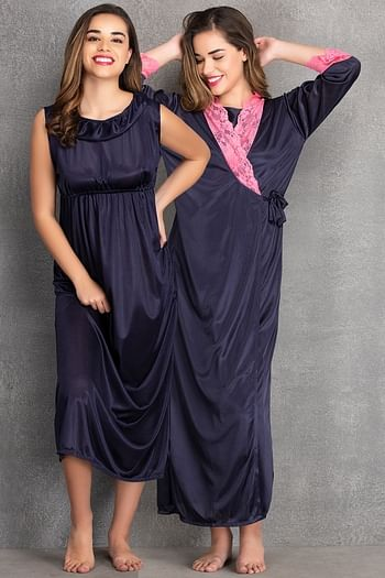 Front listing image for Long Night Dress & Full Sleeves Robe in Navy Blue- Satin