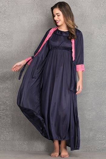 Back listing image for Long Night Dress & Full Sleeves Robe in Navy Blue- Satin