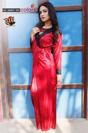 Front listing image for Satin Long Night Dress & Full Sleeves Robe in Maroon