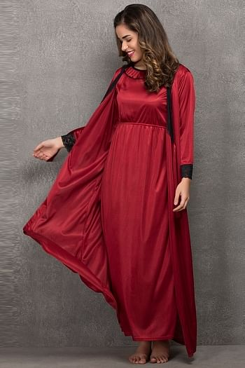 Back listing image for Satin Long Night Dress & Full Sleeves Robe in Maroon
