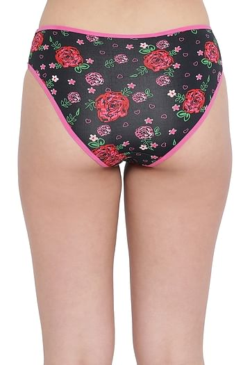 Back listing image for Low Waist Floral Print Bikini Panty with Mesh Panels in Black