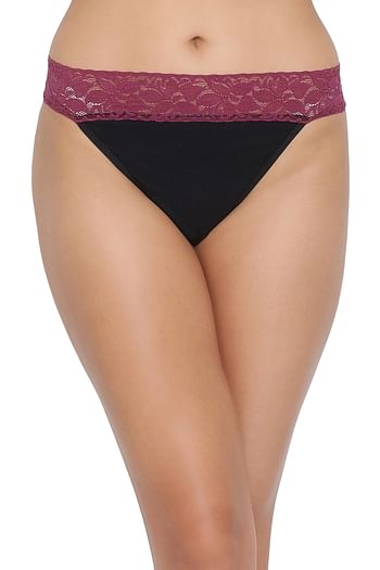 Front listing image for Low Waist Thong in Black & Purple - Cotton & Lace