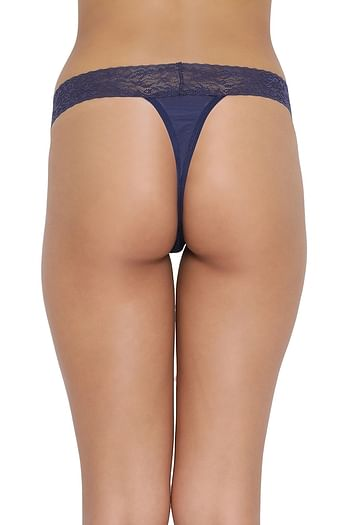 Back listing image for Low Waist Thong in Navy Blue- Powernet & Lace