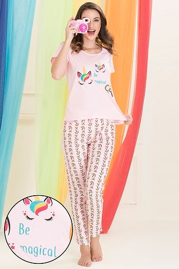 Front listing image for Cotton Rich Unicorn Print Top & Pyjama Set In Pink