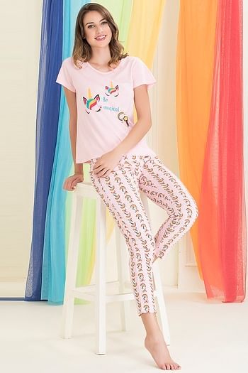 Back listing image for Cotton Rich Unicorn Print Top & Pyjama Set In Pink