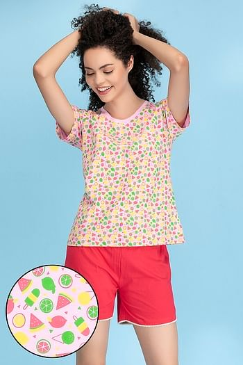 Front listing image for Cotton Printed Top &  Shorts