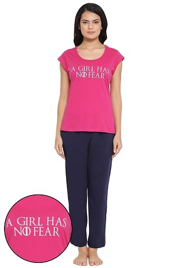 Front listing image for Text Print Top & Pyjama Set in Dark Pink - Cotton Rich