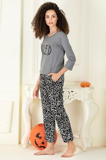 Back listing image for Cotton Rich Printed Full Sleeves Top & Pyjama Set