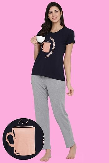 Front listing image for Printed Top & Pyjama Set in Navy and Grey - Cotton Rich