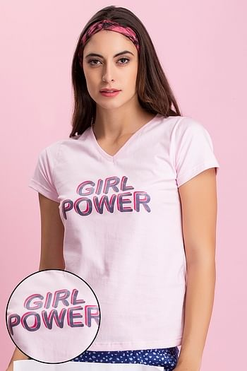 Front listing image for Cotton Text Print Top In Pink