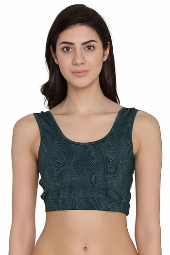 Front listing image for Medium Impact Padded Non-Wired Sports Bra in Dark Green