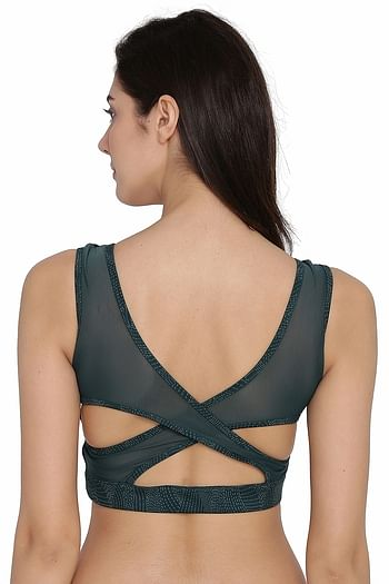 Back listing image for Medium Impact Padded Non-Wired Sports Bra in Dark Green